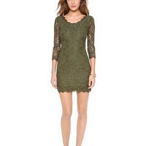 "Diane Von F ""Zarita"" Lace Dress in olive Sz 12"